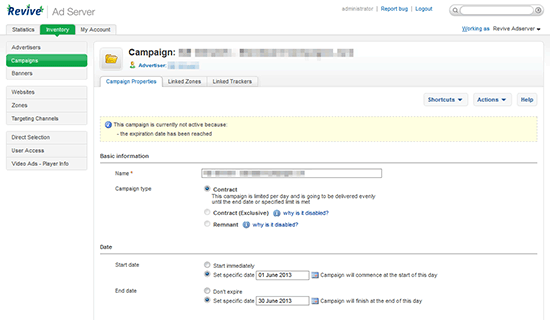 Screenshots of Revive Adserver version 3 0 0