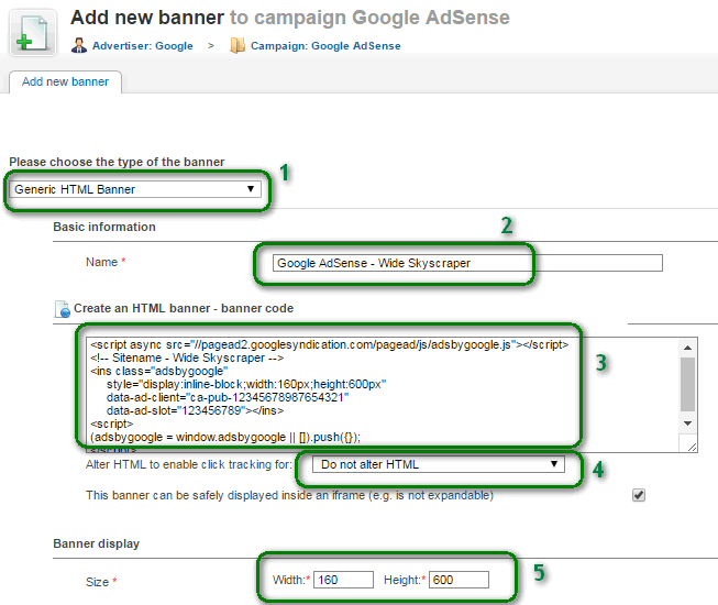 Add new banner for Google AdSense
