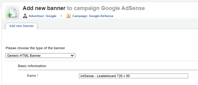 AdSense - create HTML banner - enter name