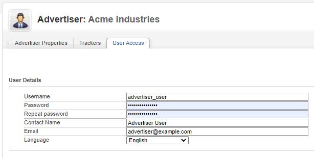 Advertiser - Add user - user details