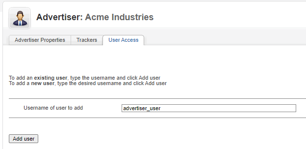 Advertiser - User - Add username