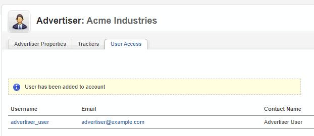 Advertiser - User access - User added