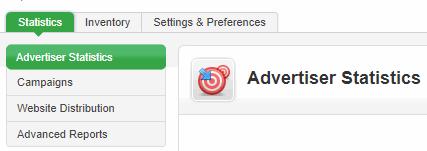 Advertiser User - Statistics tab