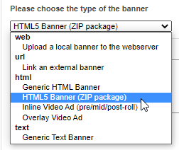 Banner type - HTML5 ad