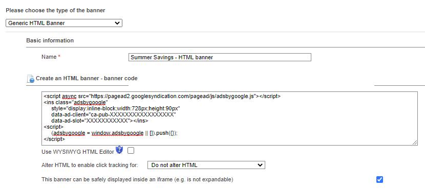 HTML banner - code