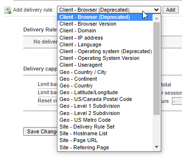 Delivery Options, select Delivery Rule