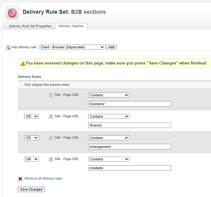 Defining the rules in a Delivery Rule Set
