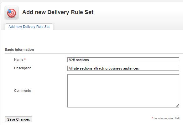 Delivery Rule Set - enter name