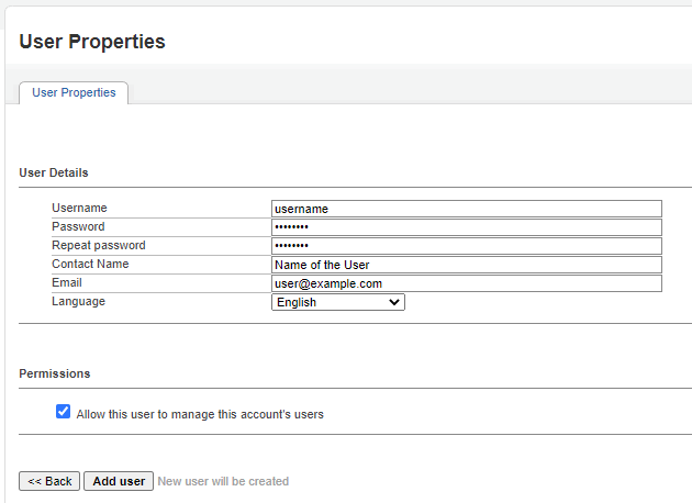 Inventory - User access - add user manage account's users
