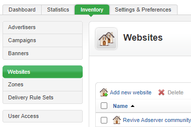 Websites overview in the Inventory tab