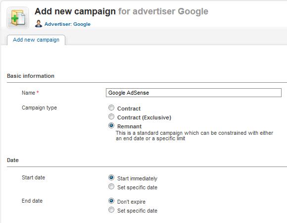 "Add new campaign ""Google AdSense"""