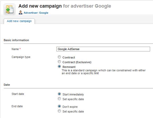 "Add new campaign ""Google AdSense"""