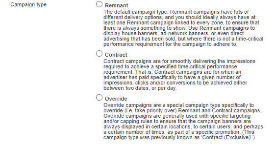 Select the required campaign type