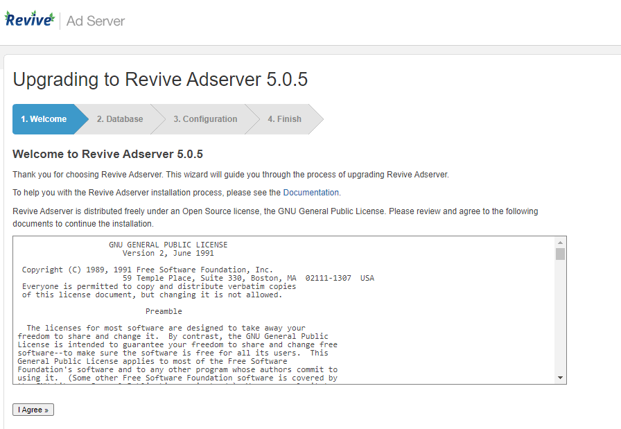 Revive Adserver update wizard - starting screen